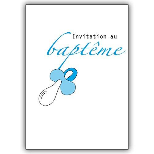 Wenskaarten met hoeveelheidskorting: schattige Franse doopuitnodigingskaart met blauwe fopspeen • Uitklapkaarten in set met enveloppen om samen met vrienden en familie de feestelijke doop van hun kind te vieren 10 Grußkarten