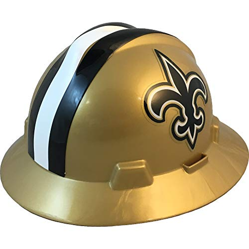 MSA 10194774 NFL V-Gard Full Brim Hard Hat, New Orleans Saints
