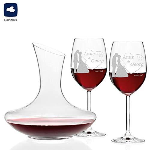 polar-effekt 3er Set Rotweingläser und Weinkaraffe Personalisiert mit Gravur - Glasdekanter Geschenk zur Hochzeit Wein-Glas für Paare zur Hochzeit - Motiv Brautpaar