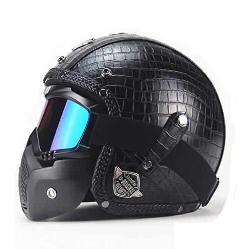 Yvonnelee Casco semiintegral para moto, scooter, scooter, chopper, retro, retro, vintage, piloto, motociclista, con gafas