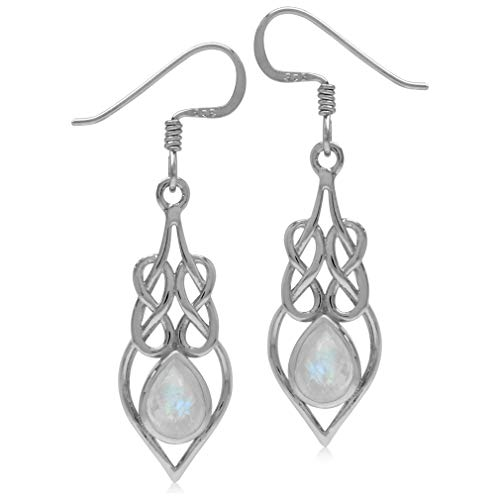 Silvershake Natural Moonstone 925 Sterling Silver Celtic Knot Weave Drop Dangle Earrings