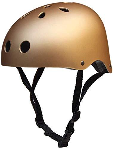 LHY Kinderhelm, Kleinkind-Fahrradhelm CE Certified Kinder Skateboard-Helm für 3-13 Jahre Jungen Mädchen Helm für BMX-Fahrrad-Roller Scooter Skateboard Inline-Skating,Gold,M