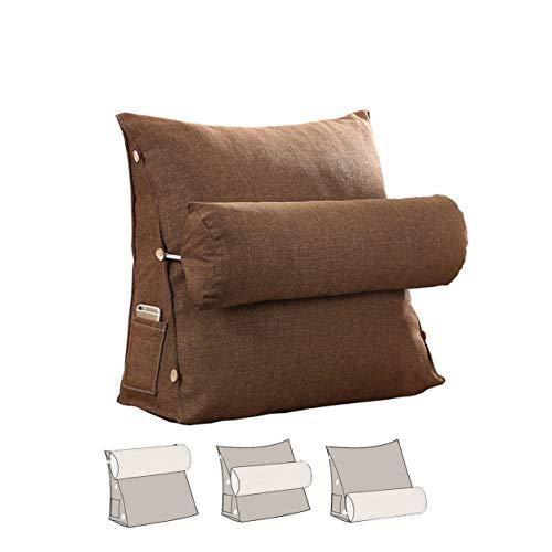 L/S Braun Lesekissen Buchkissen Lesehilfe Sofa Bett mit Nackenrolle Dreieck Rückenlehne Keilkissen Geeignet Für Lesen, Büro oder Fernsehen