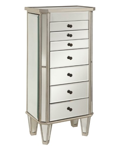 Hot Sale Powell Mirrored Jewelry Armoire with Silver Wood