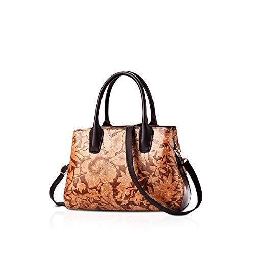 NICOLE&DORIS Handtaschen Damen Schultertasche Umhängetasche RetroTote Oberer Griff Tasche Geldbörse für Lady Hellbraun