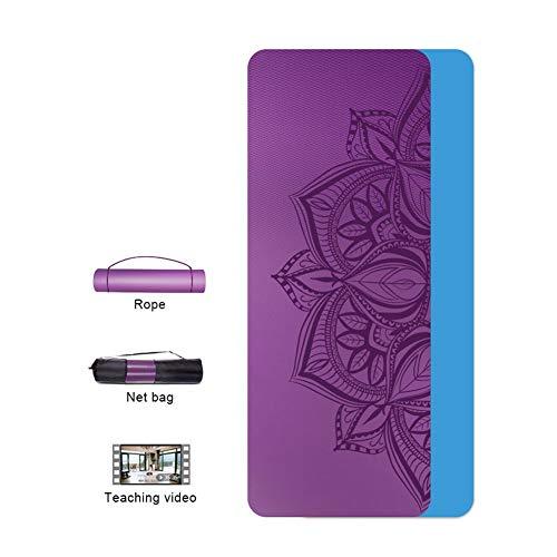 WGXYQ Yogamat, gymnastiekmat met touw en net, licht en antislip, dikte 6 mm/10 mm, materiaal TPE, SGS gecertificeerd