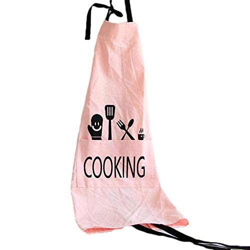 Eastery Modieuze schorten voor dames, katoenen kleding en eenvoudige stijl, linnen, kleding, werkkleding keuken shop, bakkerij, kookschort, katoen, ovengebakken (geel) Size Roze