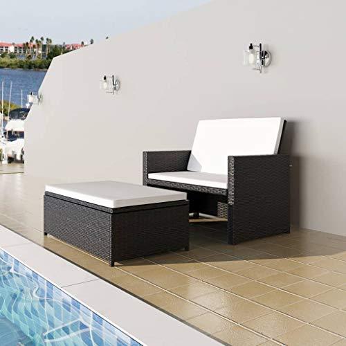 UBaymax Poly Rattan Lounge Set 2-TLG, 2 Sitzer Sofa mit Hocker, Kissen, Garten-Lounge, Garten-Sitzgruppe, Gartensofa Gartenliege, Rattan-Lounge