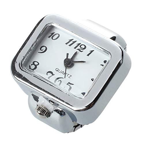 Heritan Reloj de Anillo Digito Rectangulo arabe Blanco Unisex Joyeria