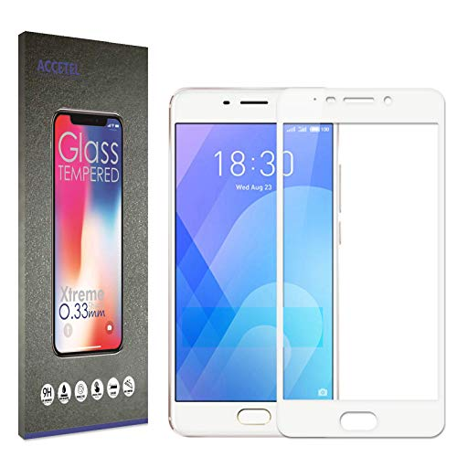 Accetel Cobertura Completa para Meizu M6 Note Protector de Pantalla Cristal Vidrio Templado Compatible con Meizu M6 Note Full Coverage 5.5'' Pulgadas Blanco