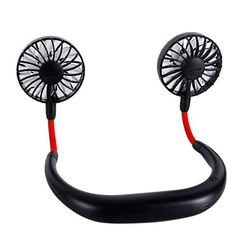 MULOVE Ventilador Personal Portátil, Ventilador de Banda para el Cuello, Mini Ventilador USB Recargable Ventilador de con Doble Cabeza de Viento,Ventilador de Manos con 3 Velocidades,Negro