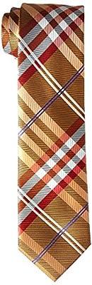 Geoffrey Beene Men's Petros Plaid II Tie, flame, Regular