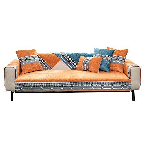 YUTJK Nicht elastisch Sofa überwurf Chaise Longue Linke und rechte Liege, frontansicht, Chenille,für Frühling Herbst, Chenille rutschfeste Sofa-Matte,Orange_90×70cm