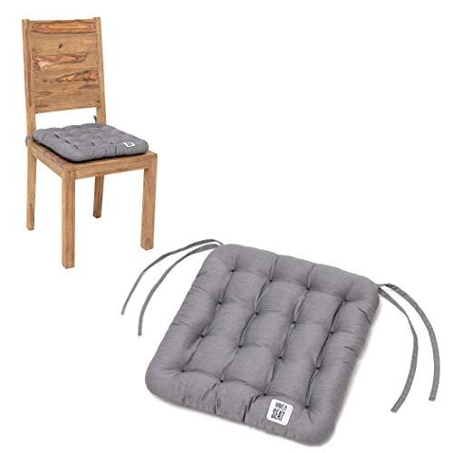 HAVE A SEAT Luxury - Sitzkissen 40x40 cm (2 St.) - bequemes Stuhlkissen, orthopädisch, waschbar bis 95°C, Trockner geeignet, farbecht - Made in Germany - (2er Set, Hellgrau)