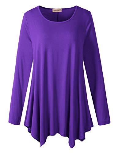 LARACE Womens Long Sleeve Flattering Comfy Tunic Loose Fit Flowy Top (M, Deep Purple)