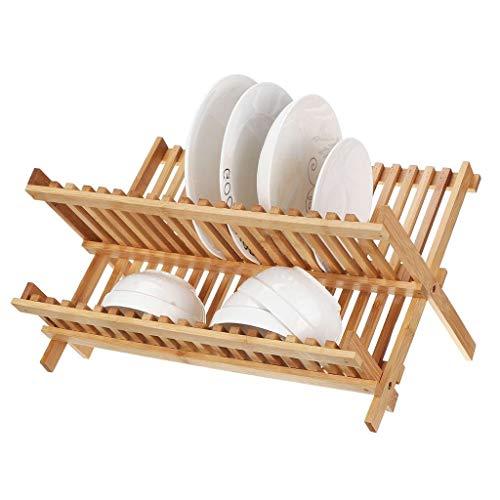 XWF Vajilla de múltiples Funciones de Drenaje Estante Plegable Platos de Almacenamiento en Rack sólidos Platos de Madera de Doble Capa Barra de Cocina Estante de la Cocina Escurridor