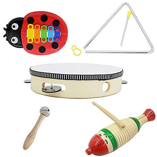 RONSHIN Popular Sell for 5 stks/set Orff Muziekinstrument Set met Vis Kikker + 8 inch Hand Tamboerijn + Barbell + 6 inch Muziek Driehoek + Kever Vijf-tone Aluminium Pannel Gitaar