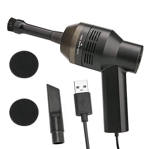 USB-Computer-Staubsauger, Tastatur-Mini-Reiniger mit USB, wiederaufladbar, tragbarer USB-Computer-Tastaturreiniger für Computer, Laptop, Notebook, PC, Tastatur, TV, Satelliten-Boxen, DVDs, Schwarz