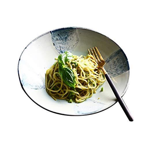 ZGQA-GQA Japanese-style Retro Ceramic Noodle Bowl Home Large Dish Three-dimensional Salad Bowl Shallow Soup Bowl bowl