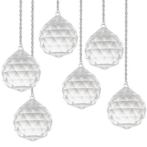 GORGECRAFT 30mm Crystal Prism Ball Pendant Transparent K9 Hanging Crystals Chandelier Beads Balls for Ceiling Droplets Light Refraction,6PCS