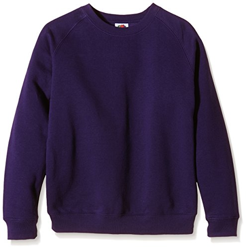 Fruit of the Loom Unisex Kinder Raglan Premium Sweatshirt, violett, 7-8 Jahre