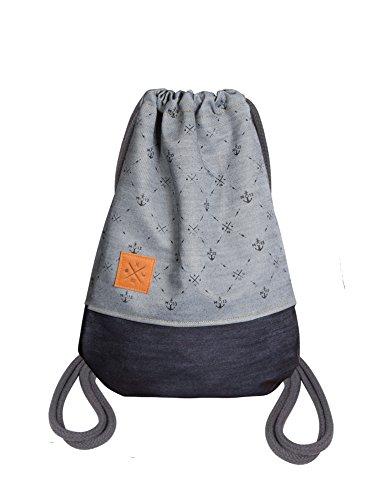 Manufaktur13 Twisted Denim Sports Bag - Jeans Rucksack Gym Bag Turnbeutel Sportbeutel Beutel Tasche M13