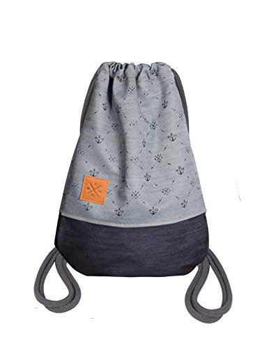 Manufaktur13 Twisted Denim Sports Bag - Jeans Rucksack Gym Bag Turnbeutel Sportbeutel Beutel Tasche M13