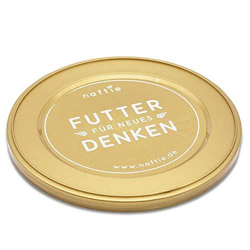 naftie Dosendeckel | Plastik-Deckel für 800g Hundefutter Katzenfutter Dosen | Farbe Gold (1 Stück)