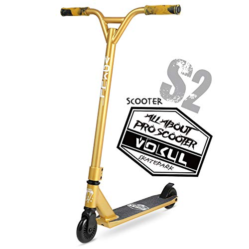 """VOKUL 2020 Gold Pro Stunt Scooter - Entry Level Tricks Freestyle Pro Scooter for Age 7 Up Kids,Boys,Girls - Reinforced 20"""" L4.1 W Deck … …"""