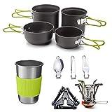 Utensilios Cocina Camping Kit Utensilios de cocina de camping kit con estufa, cocinar al aire libre Set Palo Pot no Ligera y sartenes con mochila de senderismo utensilios de engranajes for 1 a 4 perso