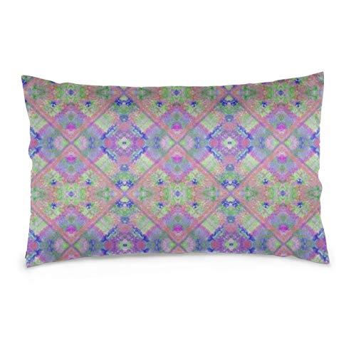 Lavanda y verde rústico azulejos superpuestos funda de almohada protector de almohada decorativo suave y acogedor tamaño Queen estándar 50,8 x 76,2 cm con cremallera oculta