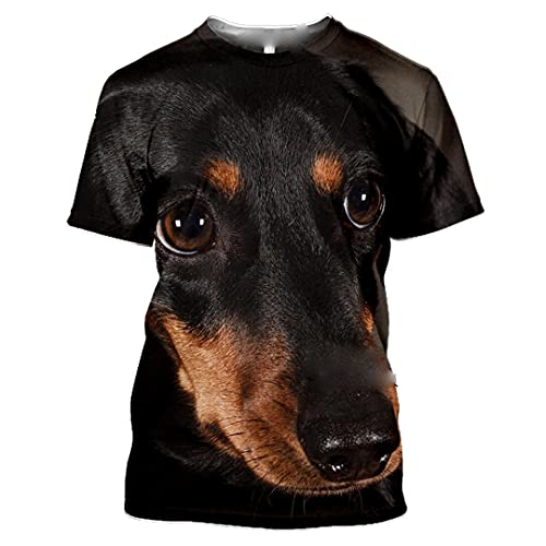 Män 3D-tryck djur t-shirt vardaglig sommar kortärmad rund hals skjorta hiphop topp, 22, L