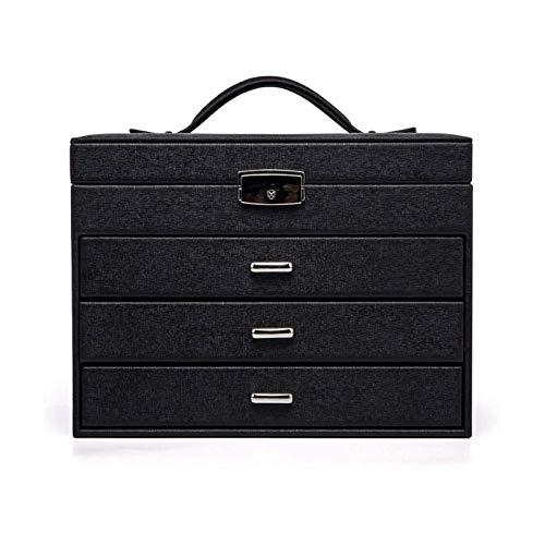 LSLS Caja joyero Caja de joyería Grande de 4 Capas, Ideal para Collares, Pendientes, Gafas de Sol, Pulseras, Relojes Organizador de Joyas (Color : Black)