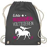 Shirtracer Pferde Geschenk und Reiten Zubehör - Echte Mädchen voltigieren - Unisize - Dunkelgrau -...