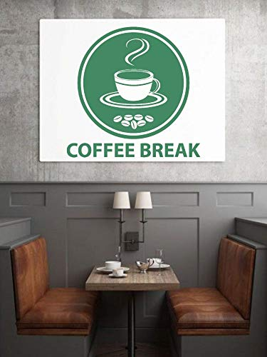 yaonuli Kaffeepause Logo mit Kaffeebohnen Kaffee Silhouette Wandaufkleber Coffee Shop Wandkunst Dekoration 91x88cm