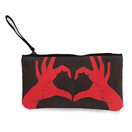 Moneda de lona, con forma de corazón, con cremallera, bolsa de cosméticos de viaje, multifunción, bolsa de maquillaje, bolsa de teléfono móvil, paquete de lápices con asa