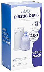 Ubbi Plastic Bags, 75 - Pack, (Pack of 3)