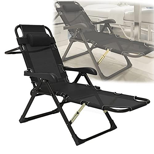 QAQWER Silla reclinable plegable de gravedad cero, respaldo ajustable de 7 niveles, tumbona al aire libre para jardín, patio, camping, con reposacabezas ajustable