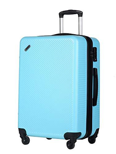 スーツケース(unite star)キャリーバッグ キャリーケース 軽量 大容量拡張機能 ファスナー式 旅行 ビジネス 出張 人気色 安心の1年保証 TSAローク搭載 大型 静音キャスター 耐衝撃 かわいい スムーズ走行 8049 黒 S (M, ブルー)