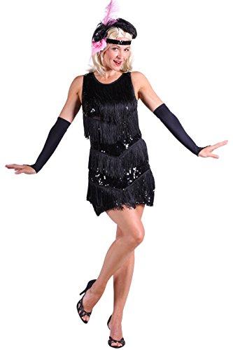 Charleston-Kleid in schwarz | Fransenkleid | 20er Jahre-Kleid (M)