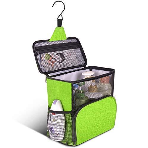 Frebw Large Shower Tote Bag for College, Hanging Toiletry Bath Organizer 2020 Upgraded Full Size Bottle Compatible Portable Shower Caddy Sorting Bag for Travel Camp Dorm Gym Women Men (Newgreen2)