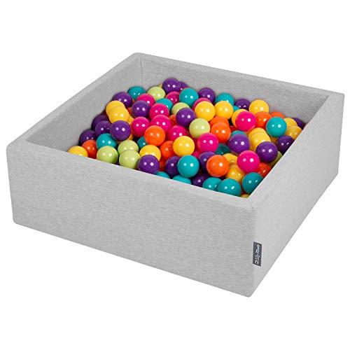 KiddyMoon Bällebad 90X30cm/300 Bälle ∅ 7Cm Bällepool Mit Bunten Bällen Für Babys Kinder Quadrat, Hellgrau:Hellgrün/Gelb/Türkis/Orange/D Rosa/Violet