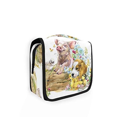 Bolsa de aseo para colgar con forma de cerdo de animales y perrito de flores, bolsa de lavado grande para mujer, organizador de cosméticos para mujeres y niñas, bolsa de ducha