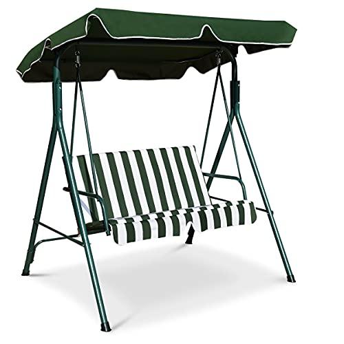 GOPLUS Hollywoodschaukel mit Sonnendach, Gartenschaukel, Schaukel, Schaukelbank, 2-Sitzer, Farbwahl (Grün)