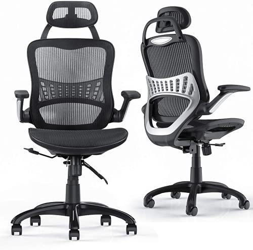 Komene オフィスチェア 人間工学椅子 デスクチェア テレワーク PU跳ね上げ式アームレスト メッシュチェア 10cm昇降機能付き 110度リクライニングチェア ランバーサポート ハイバック メッシュ 座面 調節可能なヘッドレスト 勉強椅子 学習椅子