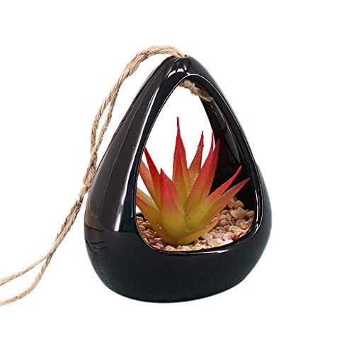 Demarkt Bloembakken keramiek bloemen hanglamp macramé hangbloempot voor vetplanten Air plantenbak container vetplanten en kaarsenhouder voor bruiloft decoratie verjaardag