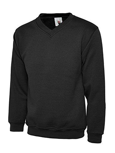 UC204 - Black - XS - 340GSM Premium V-Neck Sweatshirt