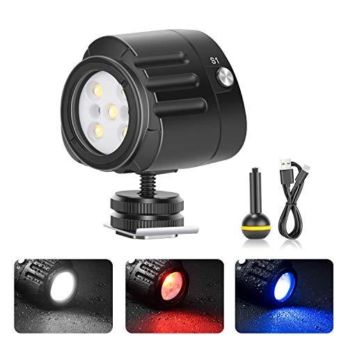 Neewer LED Luz de Video Impermeable Luz Subacuáticas de Buceo Luz Relleno Alta Potencia 40m con 5 Modos Compatible con Drones Yuneec dji Osmo Pocket Osmo Action GoPro 7/6/5 Canon Nikon DSLR