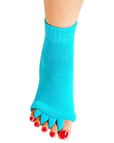 Yoga Sports GYM Five Toe Separator Socks Alignment Pain Health Massage Socks, Prevent Foot Cramps, One Pair,SkyBlue