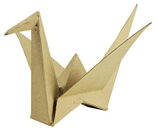 Decopatch Figura Decorativa de Papel maché pájaro de Origami, marrón
